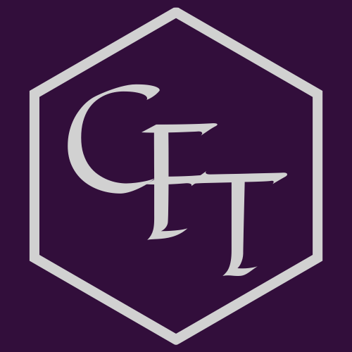 Logo for the Critical Fan Toolkit. The letters CFT, written in silver, are surrounded by a silver hexagon.